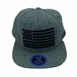 Top Level Gray Snapback Cap Hat w/ American Flag